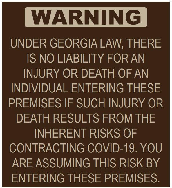 warning sign for COVID-19 Atlanta
