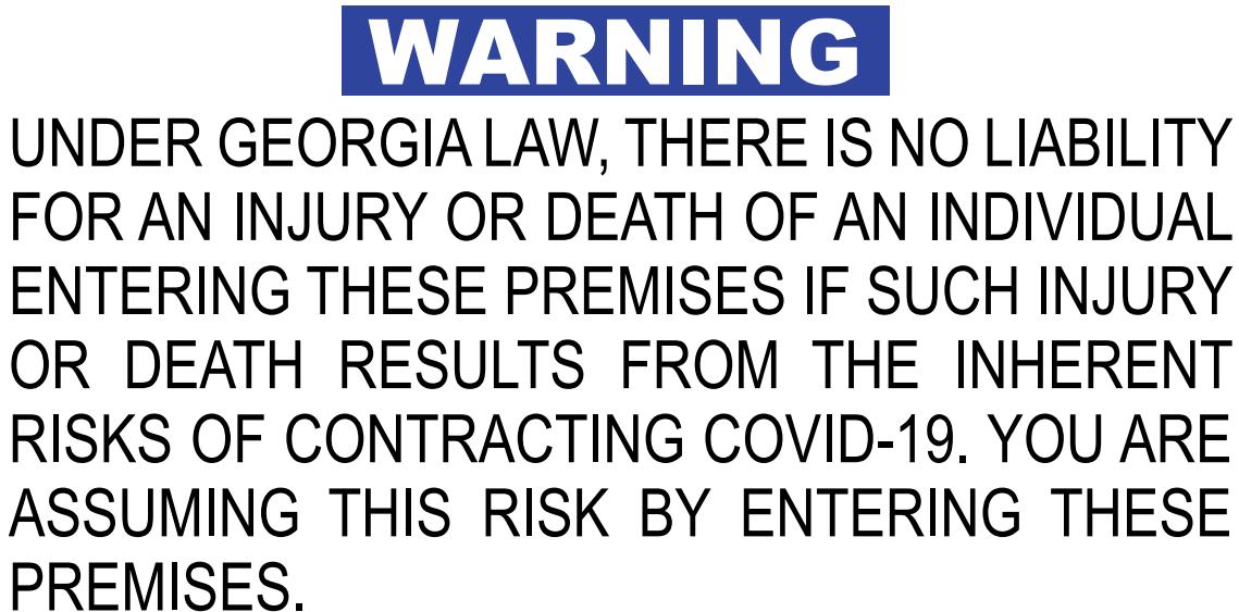 COVID-19 Liability signage Atlanta