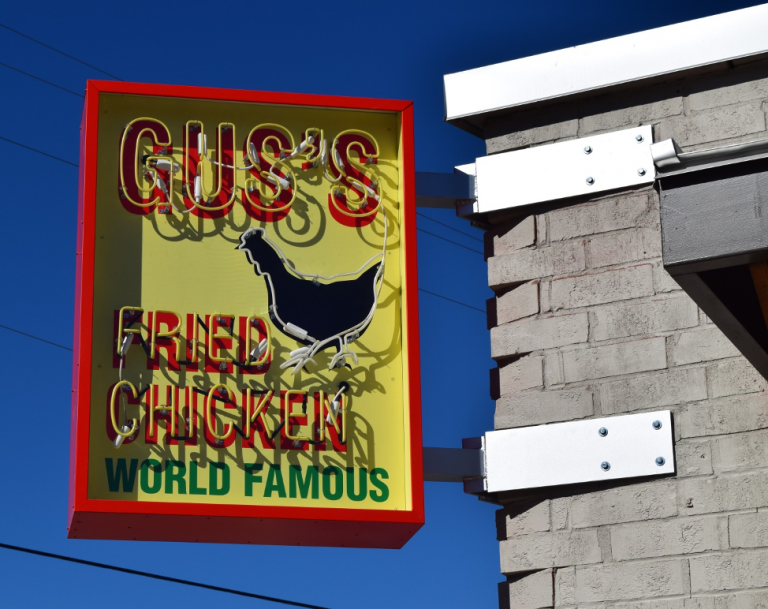 Exterior Neon Illuminated Building Sign - Gus's Fried Chicken in Chamblee, GA