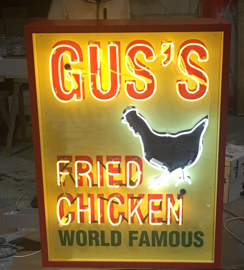 Outdoor Neon Illuminated Building Sign - Gus's Fried Chicken in Chamblee, GA